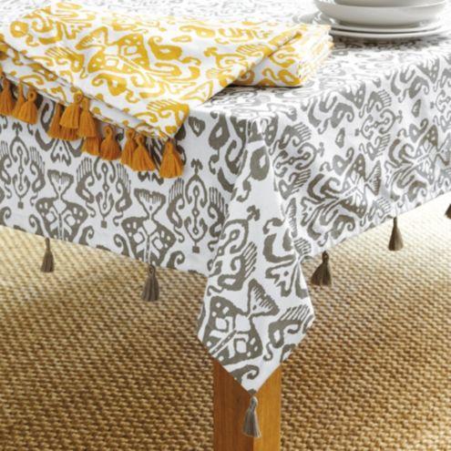 Zoey Ikat Tablecloth Ballard Designs