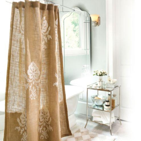 Burlap Crewel Damask Shower Curtain