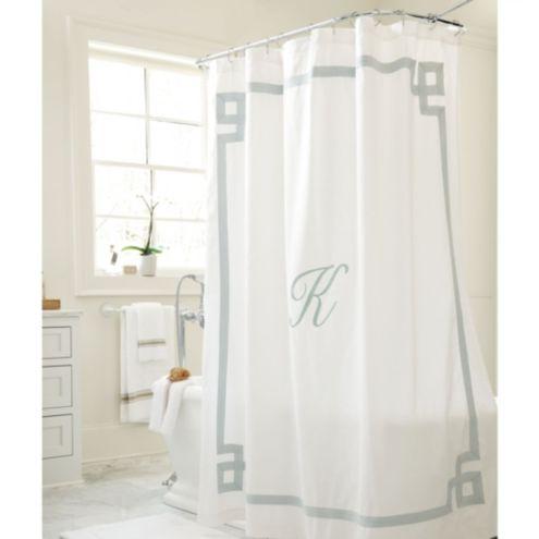 Suzanne Kasler Greek Key Linen Shower Curtain