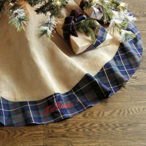 Suzanne Kasler Burlap & Mackenzie Plaid Tree Skirt | Ballard