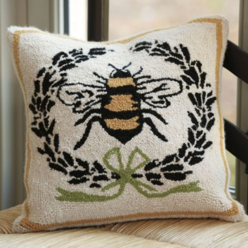 Ballard Design Pillows bee pillow - napoleonic bee pillow - hand hooked bee pillow - 100