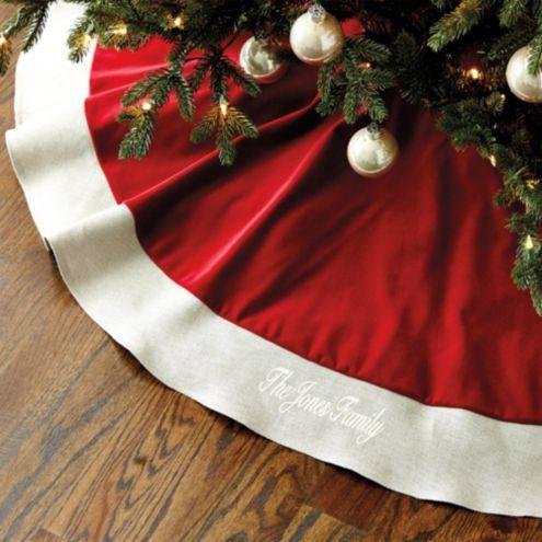 Suzanne Kasler Velvet Tree Skirt With Linen Trim