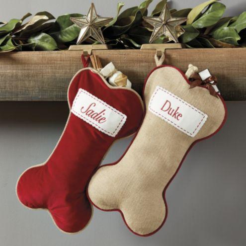 Dog Christmas Stocking.Burlap Dog Bone Stocking