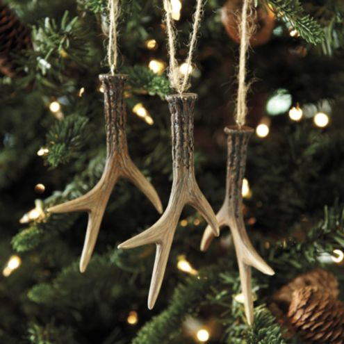 set of 3 faux antler ornaments