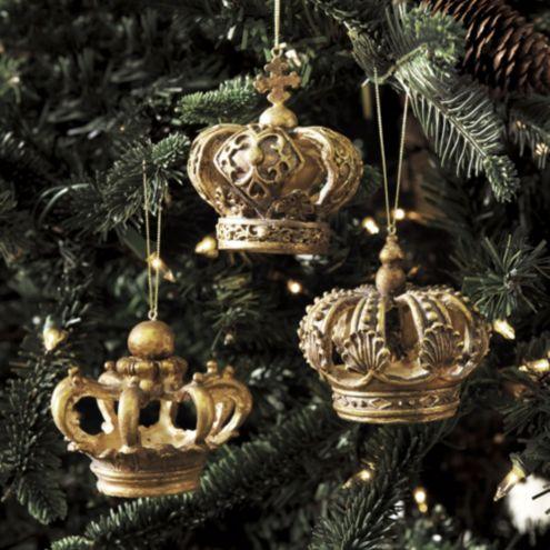 Crown Christmas Ornaments.Set Of 3 Crown Ornaments Ballard Designs Ballard Designs