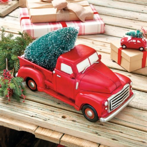 Vintage Red Truck Christmas Decor.Vintage Truck Decor
