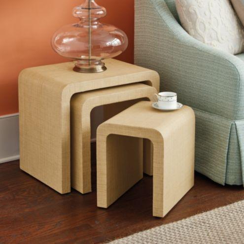 Bunny Williams Raffia Wred Nesting Tables Set Of 3