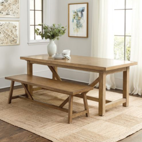 Admirable Willis Rustic Dining Table And Bench Ballard Designs Gmtry Best Dining Table And Chair Ideas Images Gmtryco