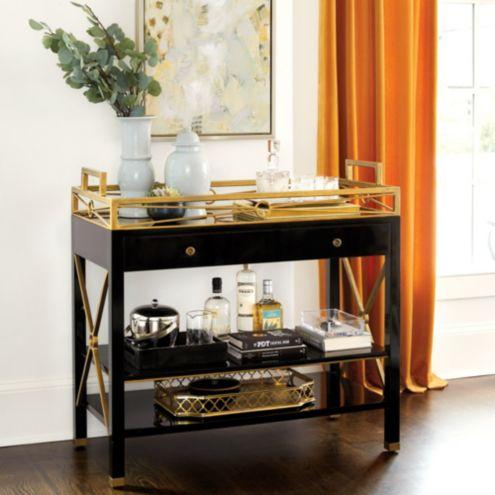 Bunny Williams Brewster Open Bar Cabinet Ballard Designs