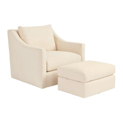 Sutton Upholstered Swivel Chair U0026amp; Ottoman