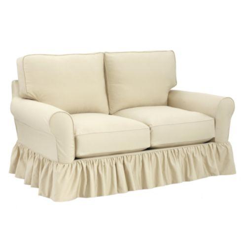 Terrific Baldwin Loveseat Ruffled Slipcover Ballard Designs Machost Co Dining Chair Design Ideas Machostcouk