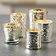Mercury Glass Votive Holders Assorted Set Of 5 Ballard