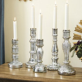 Antiqued Mercury Glass Candlesticks