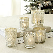 Mercury Glass Votive Holders - Set of 5
