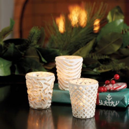 Bunny Williams Etched Mercury Glass Votive Holders -