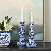 Blue & White Candle Holders - Set of 2