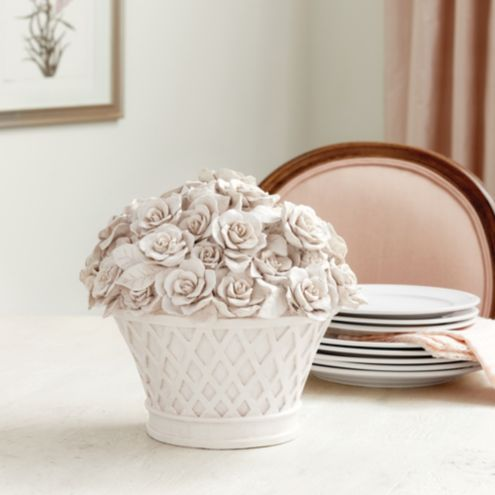 Gardenia Garden White Decorative Pot Sculpture