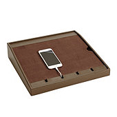 Bunny Williams Leather Charging Station - Chocolate