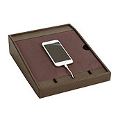 Bunny Williams Leather Petite Charging Station - Chocolate