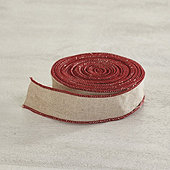 Natural Linen Ribbon with Cranberry Edge