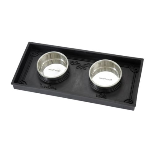 Rubber Pet Food Tray W/Bowls