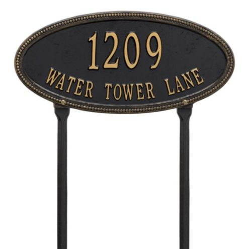 Oval Lawn Beaded Address Sign Two Line