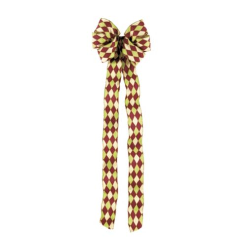 Harlequin Red, Green & Gold Bow