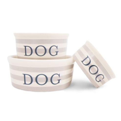 Vintage Stripe Ceramic Pet Bowl
