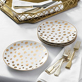 Gold Cheetah Accent Plates - Set of 4