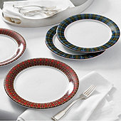 Suzanne Kasler Plaid Accent Plates - Set of 4
