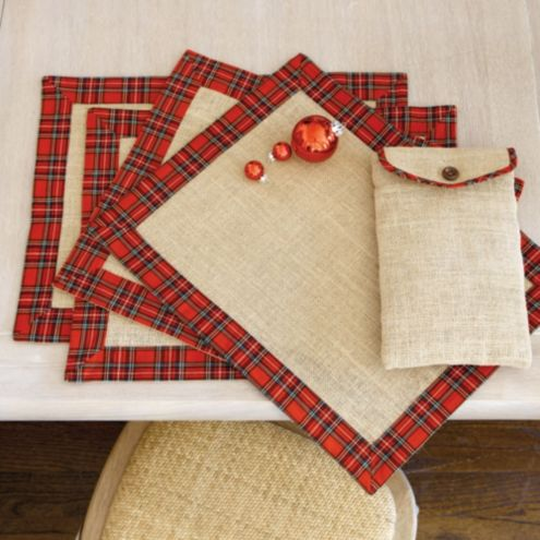 Suzanne Kasler Set Of 4 Burlap And Red Plaid Placemats