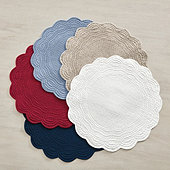 Marseille Linen Round Quilted Placemats - Set of 4