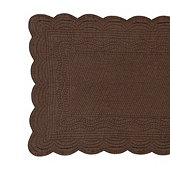 Marseille Quilted Linen Table Runner - Chocolate