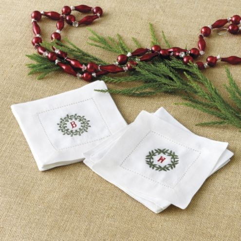 Bunny Williams Wreath Embroidered Cocktail Napkins - Set