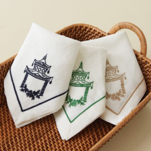 Embroidered Pagoda Napkins - Set of 4