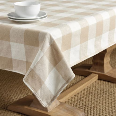 Buffalo Check Rectangular Tablecloth Natural