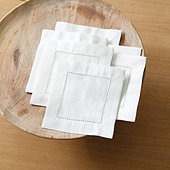 Bunny Williams Hemstitch Cocktail Napkin - Set of 6