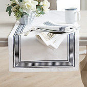 Auguste Striped Border Table Linens