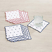 Bunny Williams Scallop & Dot Cocktail Napkins - Set of 6