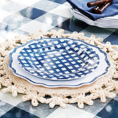 Gingham Melamine Accent Plates - Set of 4