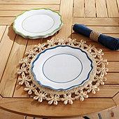 Scalloped Melamine Dinner Plates - Set of 4