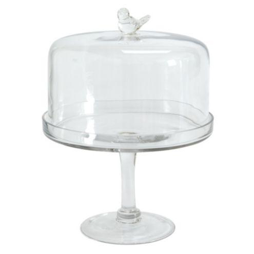 Glass Bird Cake Pedestal With Dome Ballard Designs