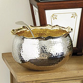 Bunny Williams Hammered Gilt Punch Bowl & Ladle