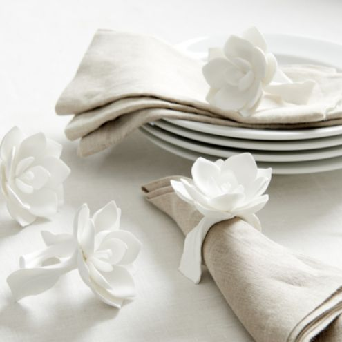 Magnolia Flower Napkin Rings Set