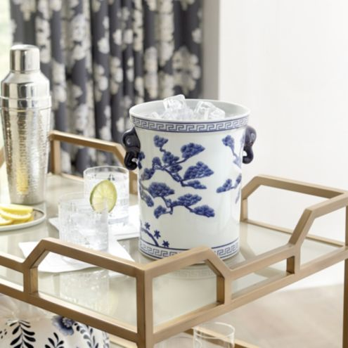 Chinoiserie Ice Bucket Blue and White Porcelain