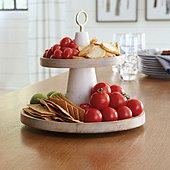 Hampton Marble & Wood Tiered Stand