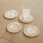 Tulum Scalloped Woven Coaster