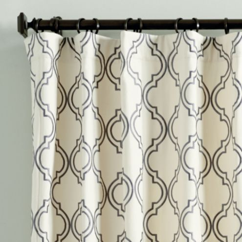 Rosselli Embroidered Drapery Panel Steel 108