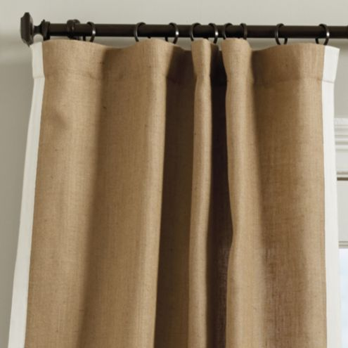 Bordered Burlap Drapery Panel Black 96