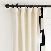 Fret Trim Drapery Panels - Set of 2